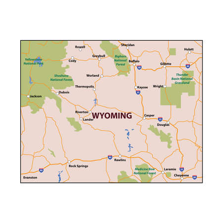 cody: Wyoming State Colour Map Illustration