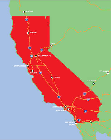 Vector State of California with Main Highways and Cities Illustration