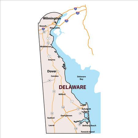 ベクトル デラウェア州 3 D アウトライン マップ
