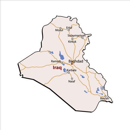 Iraq Outline with Major Roads & Cities Illustration