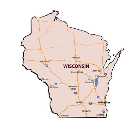 Wisconsin State 3D Carte Couleur Vecteurs