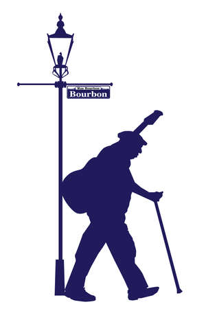 Bourbon Street Old Musician Silhouette Stock Vector - 58769370