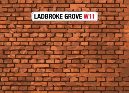 london street: Ladbroke Grove, London, Street Sign Illustration