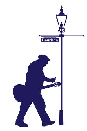 bourbon: Bourbon Street Old Musician with Acoustic Guitar Silhouette Illustration