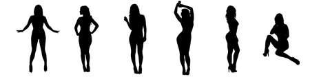 Las mujeres en Vaus Poses Silueta
