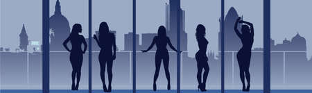 hazardous work: Concept of Women Looking to The Future Illustration