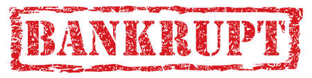 bankrupt: Red Ink Bankrupt Stamp Vector with Light Grunge