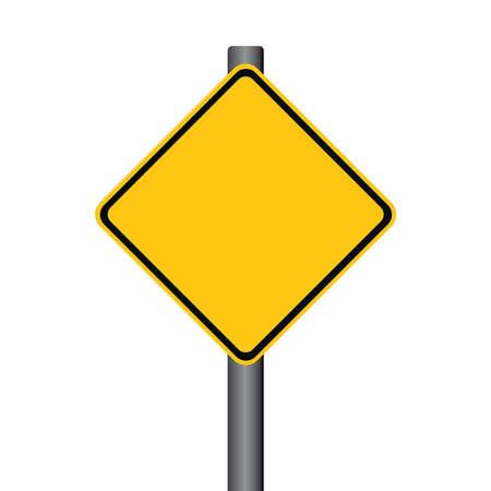 hazzard: Vector Blank Yellow Warning Signpost Illustration
