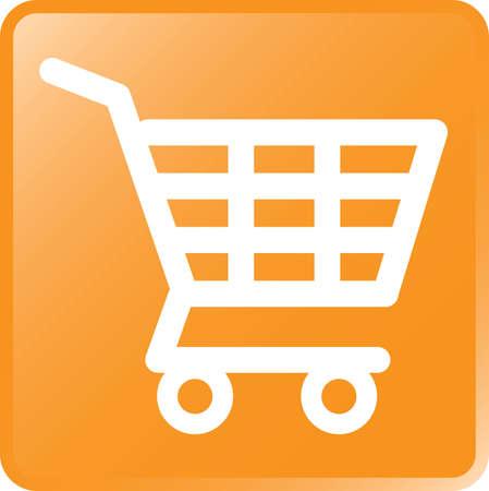 Vector Shopping Cart Icon-White on Orange Illustration