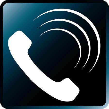 Vector Telephone Icon-White on Black Illustration