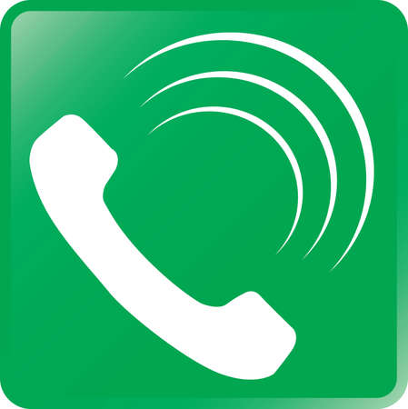 Vector Telephone Icon-White on Green