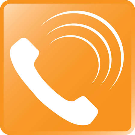 telephone: Vector Telephone Icon-White on Orange Illustration