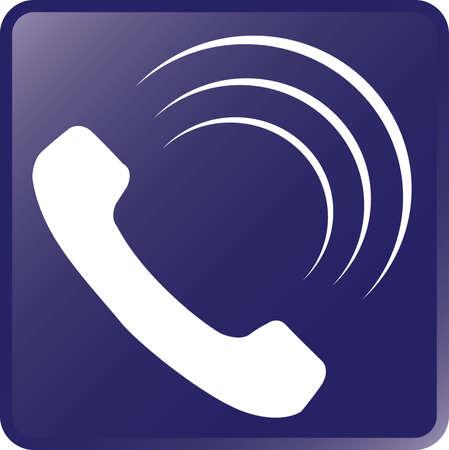 Vector Telephone Icon-White on Violet Illustration