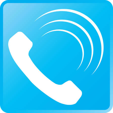 Vector Telephone Icon-White on Cyan