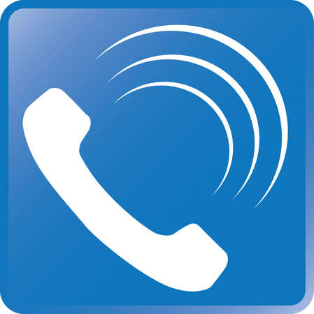 get in touch: Vector Telephone Icon-White on Blue Illustration
