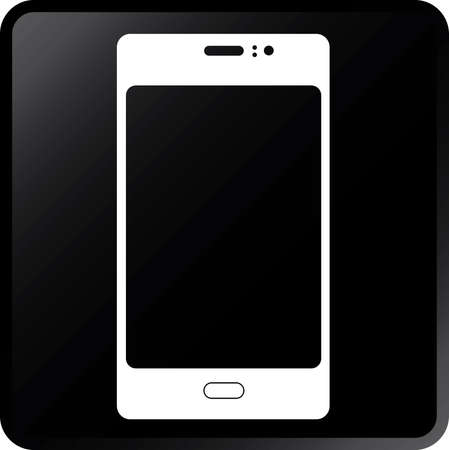 Vector Smartphone Icon-White on Black Illustration