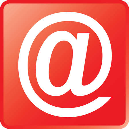 Vector Email Concept Icon White on Red
