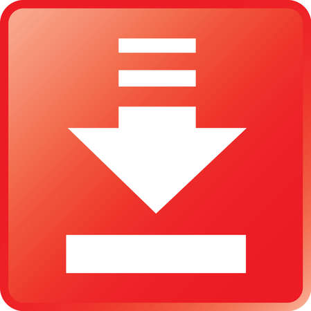 vector download: Vector Download Icon White on Red Button