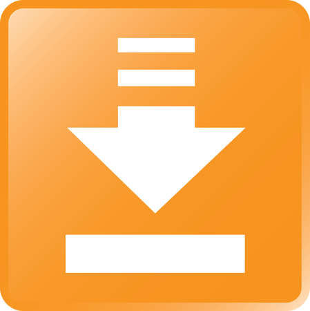 vector download: Vector Download Concept Icon White on Orange Illustration
