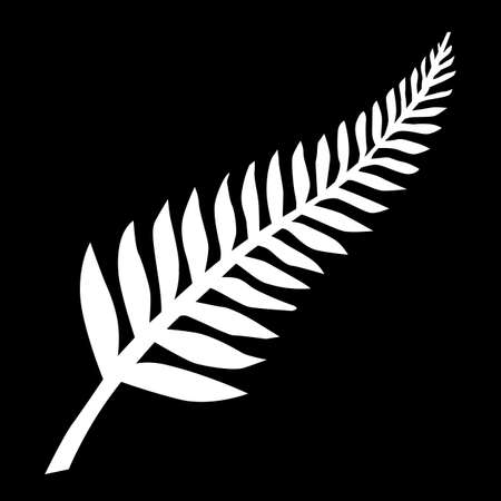 New Zealand Silver Fern Emblem White on Black