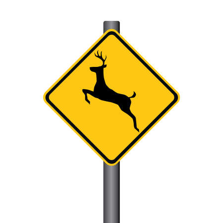 danger ahead: Vector Deer Yellow Warning Signpost Illustration
