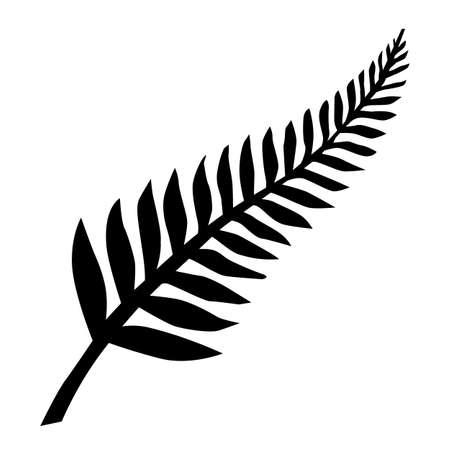 New Zealand Silver Fern Emblem Black on White  イラスト・ベクター素材