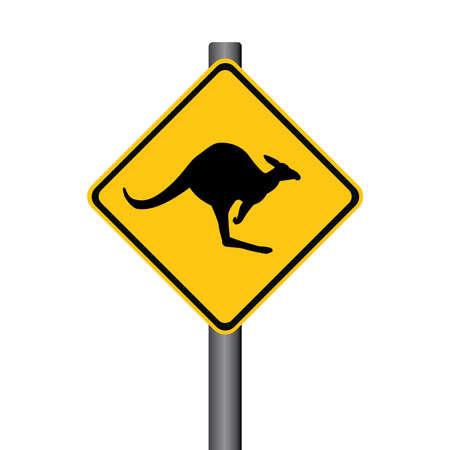 Vector Kangaroo Yellow Warning Signpost Illustration