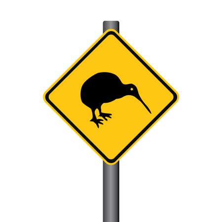 flightless: Vector Kiwi Yellow Warning Signpost Illustration Illustration
