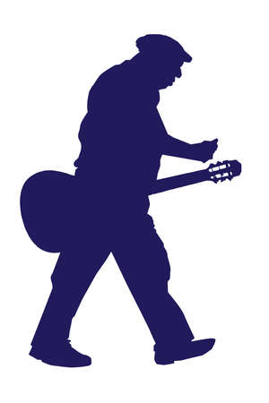 Old Walking Musician with Acoustic Guitar Silhouette
