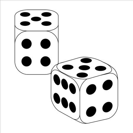 stake: Black and White Dice With Five Roll