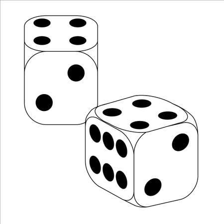 wagers: Black and White Dice With Four Roll Illustration