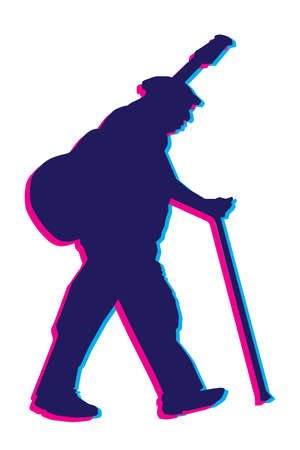 french culture: Vector Old Blues Musician With Guitar Jitter Silhouette
