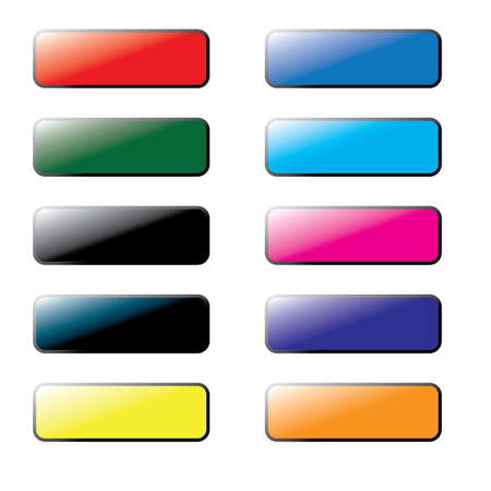 website buttons: Collection of Coloured Blank Website Buttons Illustration