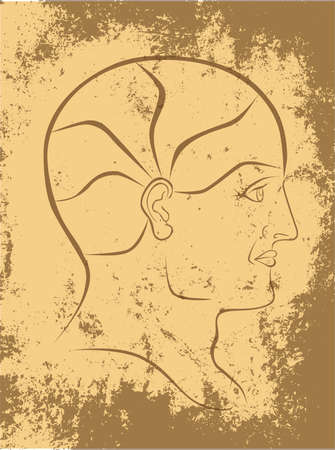 psychiatry: Vector Phrenology Head Sepia Outline On Grunge Background with 5 Brain Sectors