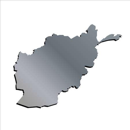 mercator: 3D Vector Afghanistan Aluminium Outline Mercator Map