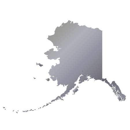 3D Alaska (USA) Aluminium outline map with shadow Vektoros illusztráció