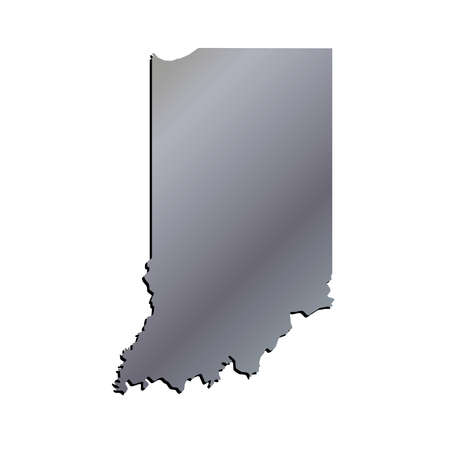 indiana: 3D Indiana State USA Aluminium Outline Map