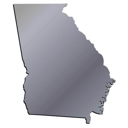 mercator: 3D Georgia (USA) Aluminium outline map with shadow