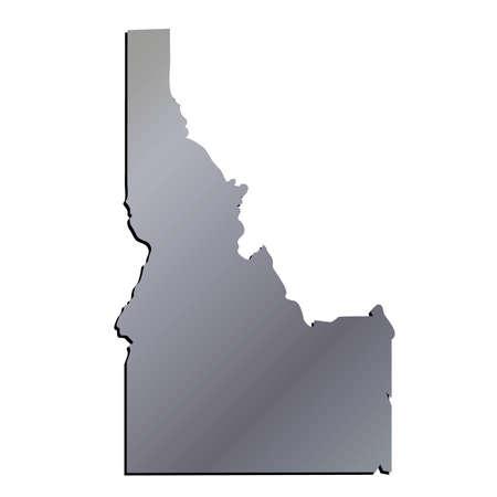 mercator: 3D Idaho State USA Aluminium outline map Illustration