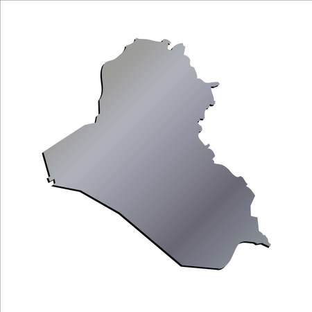 3D Iraq Aluminium Outline Map With Shadow
