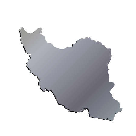 isfahan: 3D Iran Aluminium outline map with shadow