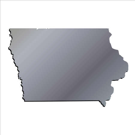 60194859 3d iowa usa aluminium outline map with shadow