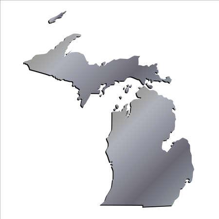 michigan: 3D Michigan (USA) Aluminium outline map with shadow