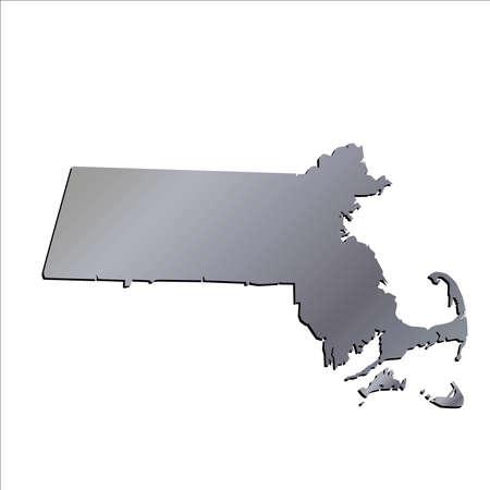 massachussets: 3D Massachussets (USA) Aluminium outline map with shadow