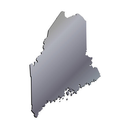 maine: 3D Maine (USA) Aluminium outline map with shadow Illustration