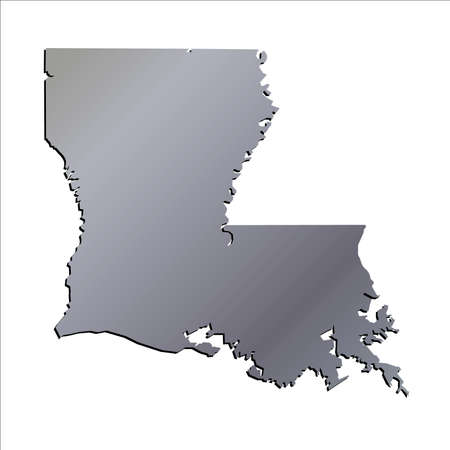 baton rouge: 3D Louisiana (USA) Aluminium outline map with shadow