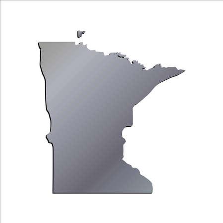 mercator: 3D Minnesota (USA) Aluminium outline map with shadow