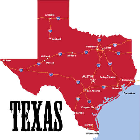 Texas Boundary Map Colour Including Main Highways