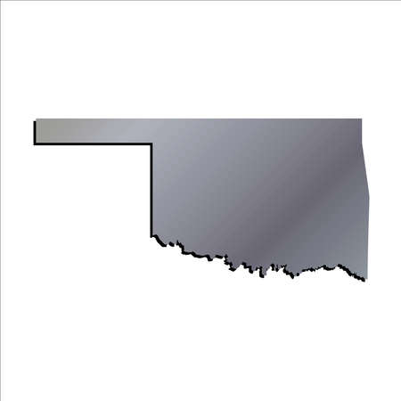 mercator: 3D Oklahoma State Aluminium outline map with shadow