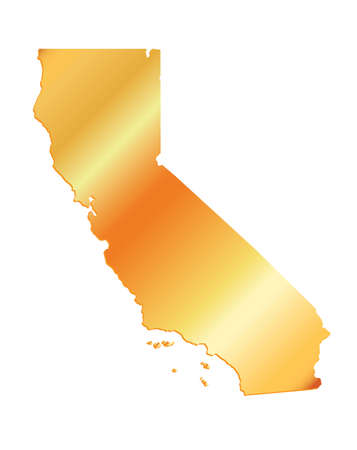 3D California (USA) Gold outline map with shadow Illustration